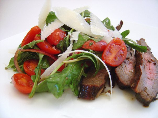 -Marinated Flank Steak with Arugula, Tomato and Shaved Parmesan Salad ...